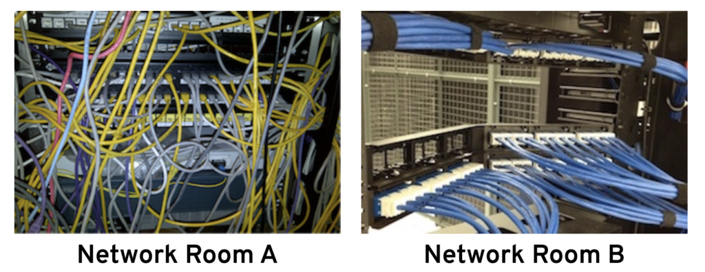 Good and bad cable management example